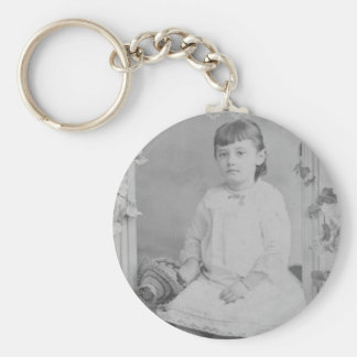 1900's Portrait of Girl Basic Round Button Key Ring