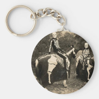 1900's Skeleton Horsemen Basic Round Button Key Ring