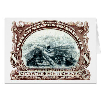 1901 Canal Locks Michigan Note Card