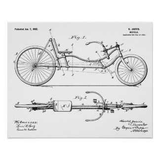 1902 Bicycle Recumbent Design Patent Art Print