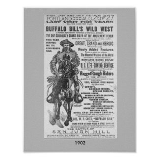 1902 Buffalo Bill's Wild West Show Ad Poster Image