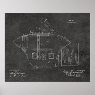 1902 Odd Airship Airplane Patent Art Drawing Print