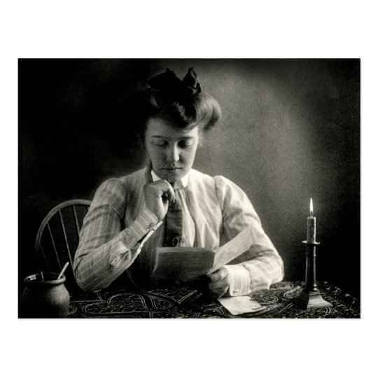 1902 Reading by Candlelight Postcard