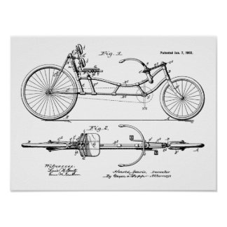 1902 Vintage Recumbent Bicycle Patent Art Print