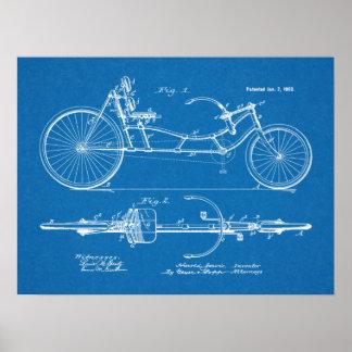 1902 Vintage Recumbent Bicycle Patent Blueprint Poster