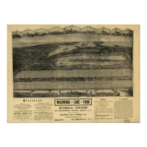 1903 Riverhead, NY Birds Eye View Panoramic Map Poster