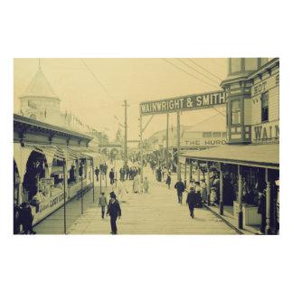 1903 Rockaway beach The bowery art photo Wood Print