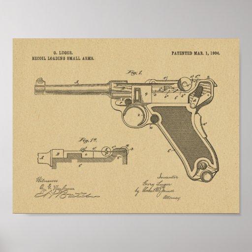 1904 Luger Gun Patent Art Drawing Print
