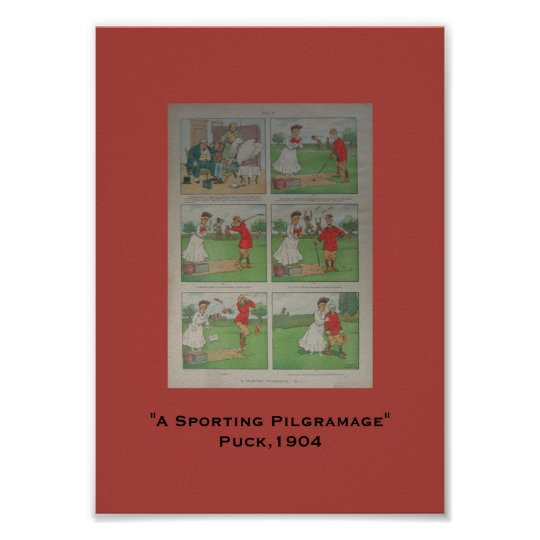 1904 Puck Golf Cartoon A Sporting Pilgramage Poster