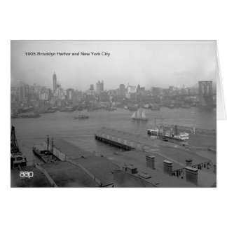 1905 Brooklyn Harbor and New York City Note Card