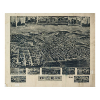 1905 Frostburg, MD Birds Eye View Panoramic Map Print
