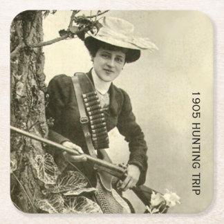 1905 Hunting Trip Square Paper Coaster