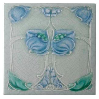 1905 Marsden Art Nouveau Blue Floral Repro Tile