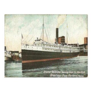 1906 Vintage Color Print of Steamer North Star. Postcard