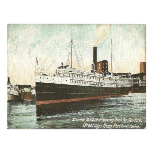 1906 Vintage Color Print of Steamer North Star. Post Cards