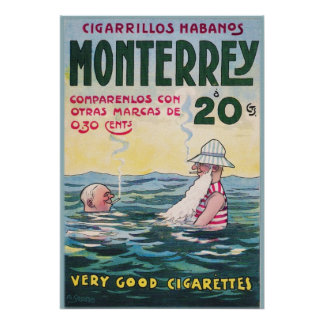 1906 Vintage Monterrey Cigar Advertisement Poster