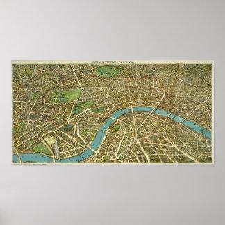 1908 London Vintage Map Poster
