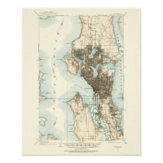 1908 Map of Seattle--Archival Paper Poster