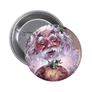 1908 Santa with Plum Pudding Vintage Christmas Pinback Button