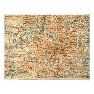 1909 Adirondacks Map from Baedeker s Travel Guide Flyer Design