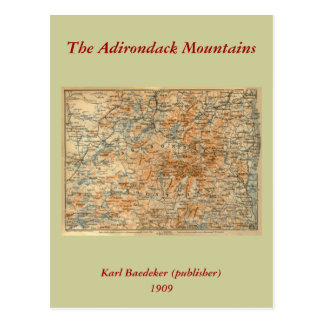 1909 Adirondacks Map from Baedeker's Travel Guide Postcard