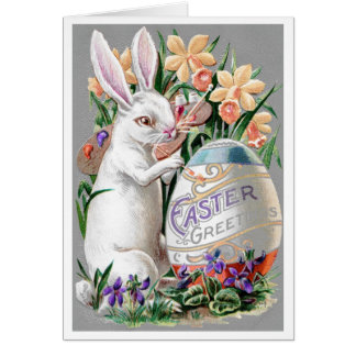 """1909! """"SPRING LIGHT"""" FRENCH BUNNY EASTER GREETING GREETING CARD"""