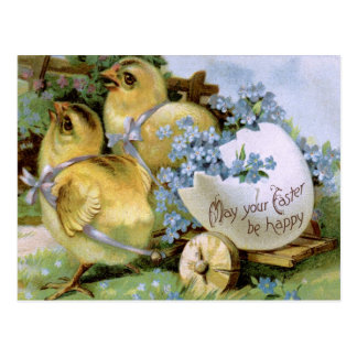 "1910! ""CHICKIE GRAM"" CHICKS PULLING WAGON EASTER POSTCARD"