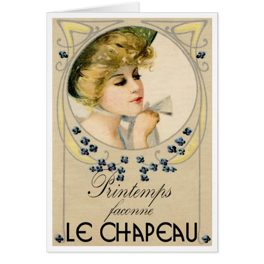 """1910 FRENCH  """"PICTURE POSTCARD"""" MILLINERY GREETING CARD"""