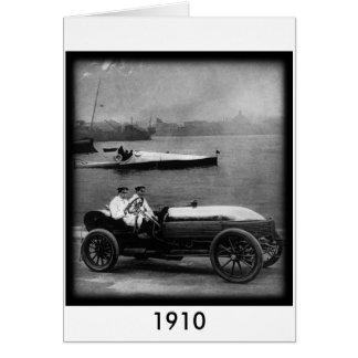 1910 Vintage Race Car & Speed Boat-greeting card