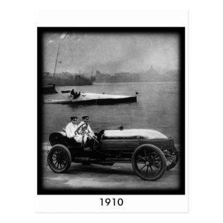 1910 Vintage Race Car & Speed Boat-Post Card Postcard