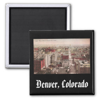 1910's View of Denver, CO from The D & F Tower Square Magnet
