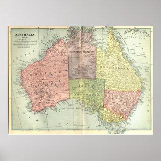 1911 Map of Australia Poster