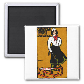 1911 Sporting Goods Poster Square Magnet