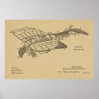 1912 Aeroplane Airplane Patent Art Drawing Print