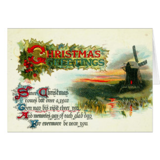 1912 Christmas Greetings Windmill Card