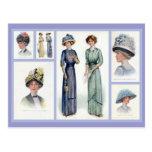 1912 Edwardian Fashion Collage Postcard