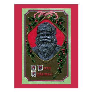 1912 Metallic Santa and Holly Vintage Christmas Postcard