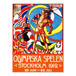 1912 Summer Olympics (vintage sports poster) ~ 17 Cm X 22 Cm Invitation Card