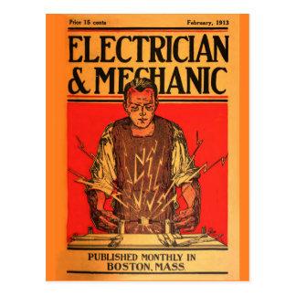 """1913 Feb-ElectricianandMechanic"" Postcard"