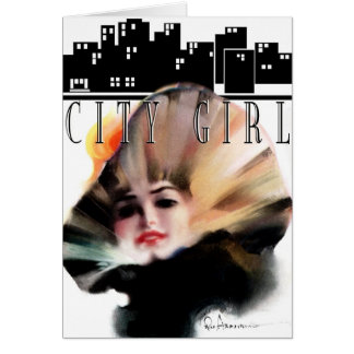 "1913! ""LOVE LOVE LOVE"" GO GIRL CITYSCAPE GREETING GREETING CARD"