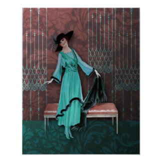 1913 Luxe Vintage Fashion in Aqua and Rose Print
