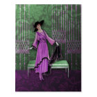1913 Luxe: Vintage Fashion in Lilac and Mint Green Postcard
