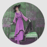 1913 Luxe: Vintage Fashion in Lilac & Mint Round Sticker