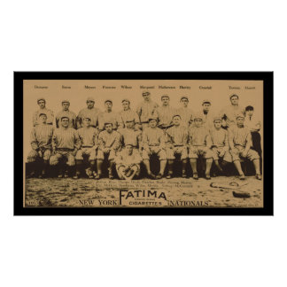 1913 New York Giants Fatima Tobacco Card Poster