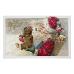 1913 Santa with Teddy Bear and Pipe Poster