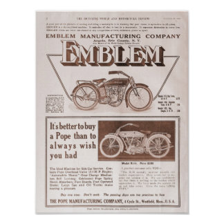1914 Emblem and Pope motorcycle ad Poster