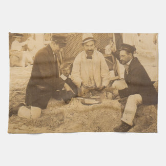 1914 fun on the beach in Germany RPPC Hand Towel
