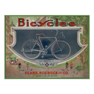 1914 Vintage Sears Bicycle Ad Art Poster