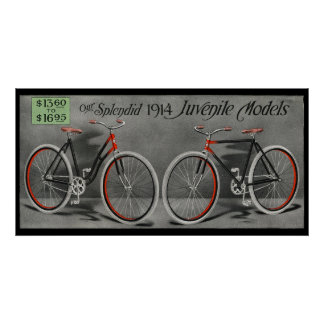1914 Vintage Sears Juvenile Bicycle Ad Art Poster