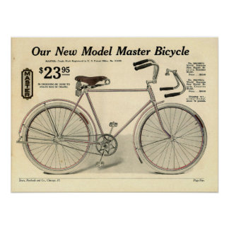 1914 Vintage Sears Master Bicycle Ad Art Poster